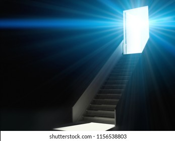 Open door with light and stairs blue background 3d rendering