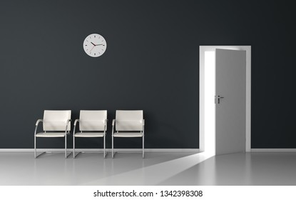 Open door with light in waiting room with white chairs and wall clock 3D render