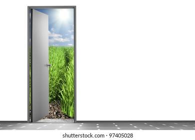 Open door to nature. Exit