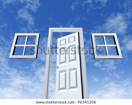 3c06ec9045 Open door to opportunity with windows and entrance on a sky background as a  symbol of