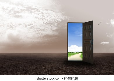 An open door revealing a different dimension. illustration