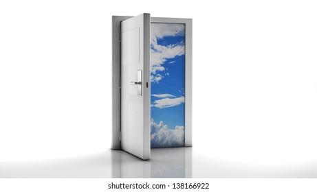 Open door to the sky behind
