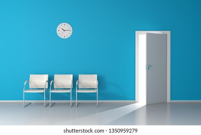 Open door with strong light in blue waiting room with white chairs and wall clock 3D render