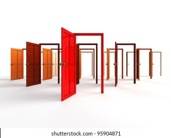 Open doors - welcome, choice, opportunity concept