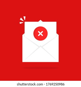 open email like rejection letter. concept of new message with dangerous content or mailbox with pile of checklist. cartoon flat style trend logotype graphic simple design isolated on red background