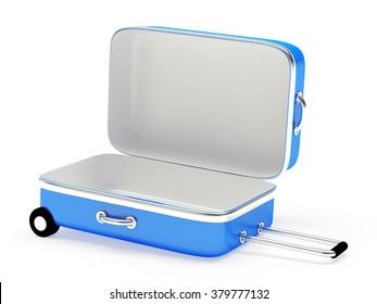 Open empty blue suitcase isolated on white background