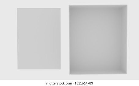 Open empty box and white empty blank on white background. Top view. Isolated objects. 3D render.