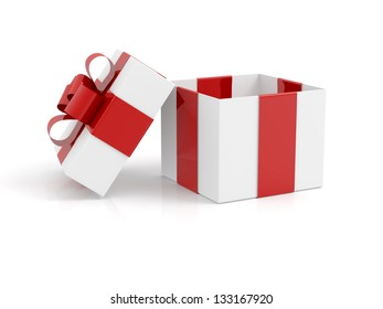 open empty gift box on white background