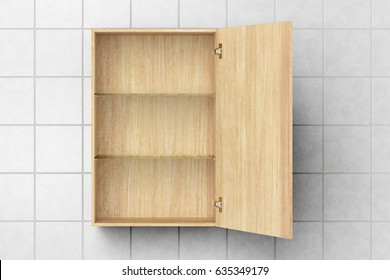 Open empty wooden bathroom cabinet isolated on white tiled wall with clipping path. 3d illustration