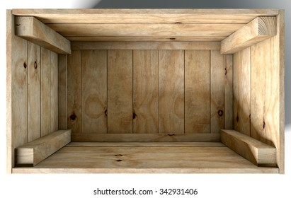 An open empty wooden box on an isolated white studio background