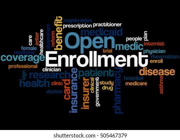 Open Enrollment, word cloud concept on black background.