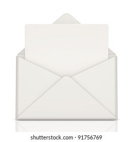 open envelope and blank letter on white background