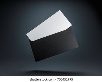 Open envelope with white invitation or letter mockup inside on black background, 3d rendering