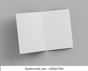 open fold brochure mock up - 3d illustartion