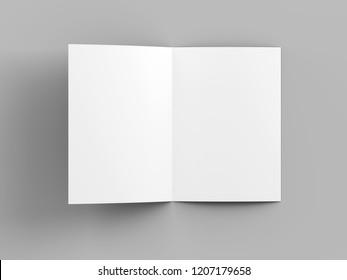 open fold brochure mock up - 3d illustration