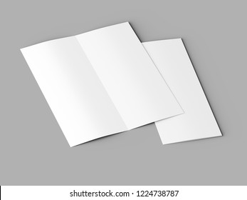 open fold leaflet -DL format - mock up - 3d illustartion