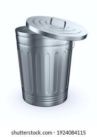 Open garbage basket on white background. Isolated 3D illustration
