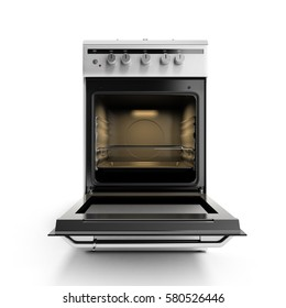 open gas stove 3d render isolated on a white background