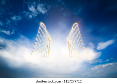 open gates of heaven on a bright and cloudy background / 3D illustration
