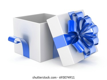 Open Gift Box With Bows Isolated On White 3d Rendering