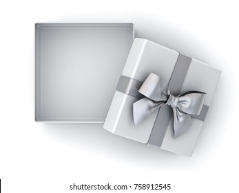 Open gift box , Christmas present box silver ribbon bow and empty space in the box isolated on white background with shadow . 3D rendering.