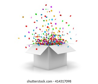 Open Gift Box and Confetti. Christmas Background.  Illustration 3d rendering