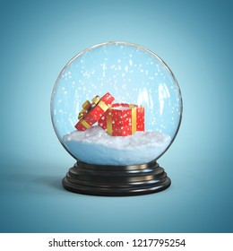 Open gift box inside snow globe 3d rendering
