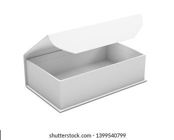 Open gift box mock up. Open jewelry box with magnetic clasp. 3d rendering illustration isolated on white background
