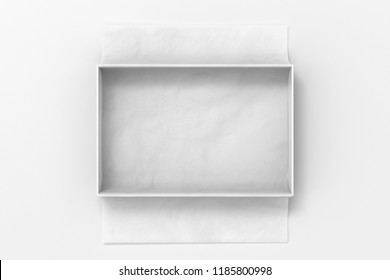 Open gift box mockup on white background with unfolded white wrapping paper. Box is rectangular and flat. 3d illustration