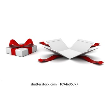 Open gift box , present box with red ribbon and bow isolated on white background with shadow . 3D rendering.