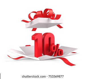 Open gift box with red 10 percent discount on white background - Discount sale concept. 3d rendering