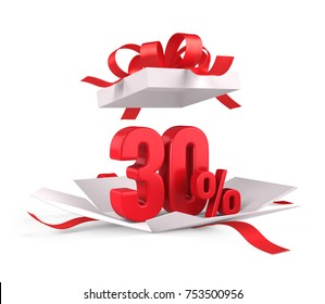 Open gift box with red 30 percent discount on white background - Discount sale concept. 3d rendering