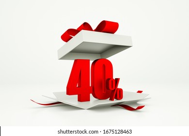 Open gift box with red 40 percent discount on white background - Discount sale concept. 3d rendering