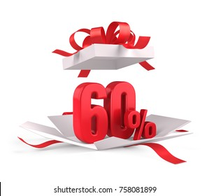 Open gift box with red 60 percent discount on white background - Discount sale concept. 3d rendering