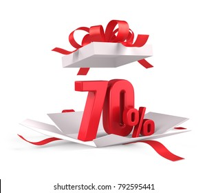 Open gift box with red 70 percent discount on white background - Discount sale concept. 3d rendering