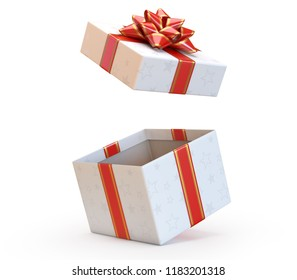 Open gift box with red bow and ribbon, present exploding 3d rendering