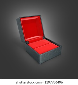 Open gift box with red material inside side view on black gradient background 3d illustration