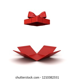 Open gift box or red present box with red ribbon bow isolated on white background with shadow 3D rendering