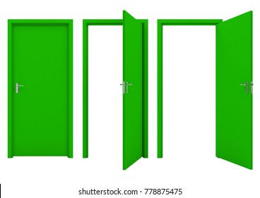 Open green door isolated on a white background. 3D illustration.