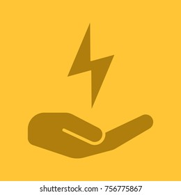 Open hand with lightning glyph color icon. Electricity economy. Silhouette symbol. Saving energy. Negative space. Raster isolated illustration