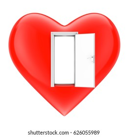 Open Heart Concept. Heart with Opened Door on a white background. 3d Rendering.
