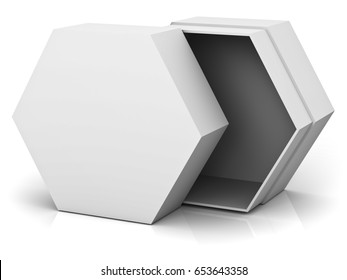 Open hexagon box with blank lid cover isolated on white background with reflection and shadow. 3D rendering.
