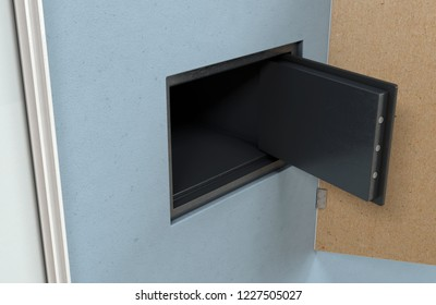 An open hidden wall safe revealed behind a hanging framed picture on a flat blue wall in a house with shiny wooden floors - 3D render