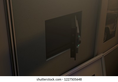 An open hidden wall safe revealed behind a hanging framed picture on a flat wall in a house at night - 3D render