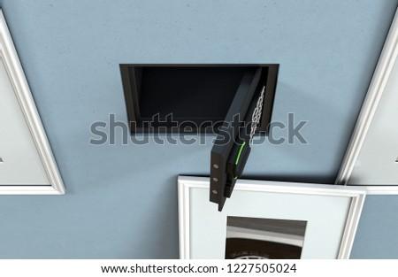 Open Hidden Wall Safe Revealed Behind Stock Illustration Royalty