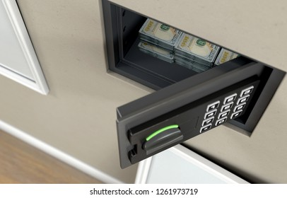 An open hidden wall safe with stacks of us dollar banknote piles  revealed behind a hanging framed picture on a wall in a house - 3D render