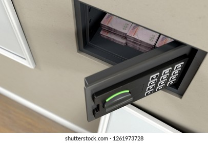 An open hidden wall safe with stacks of thai bhat banknote piles  revealed behind a hanging framed picture on a wall in a house - 3D render