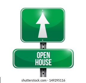 open house road sign illustration design over a white background
