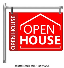 Open House Sign in red color