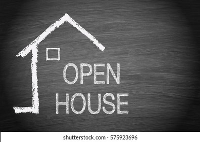 Open House - sketch of house or home with text on blackboard background with copy space for individual text